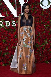Pascale Armand was the picture of elegance in a Delpozo sheer-bodice, floral-beaded gown at the 2016 Tony Awards.