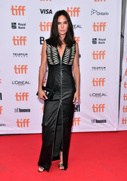 Opting for her favorite brand, Louis Vuitton, Jennifer Connelly donned a floor-length zip-front leather dress with an embellished yoke for the TIFF premiere of 'American Pastoral.'
