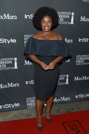 Uzo Aduba opted for a classic and feminine silhouette with this Monique Lhuillier off-the-shoulder dress when she attended the TIFF/InStyle/HFPA party.