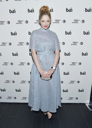 Judy Greer attended the Tribeca Film Fest after-party for 'All We Had' wearing a baby-blue dress featuring folds of striped fabric and a cinched-in waist.