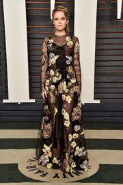 Zoey Deutch joined the sheer trend with this Valentino Couture floral gown at the Vanity Fair Oscar party.
