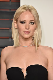 Jennifer Lawrence went edgy with a smoky eye for her Vanity Fair Oscar party look.