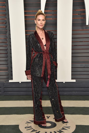 Erin Wasson pulled off the pajama-chic look with this striped pantsuit at the Vanity Fair Oscar party.