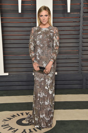 Brittany Snow shimmered at the Vanity Fair Oscar party in a long-sleeve gray sequin gown by Naeem Khan.