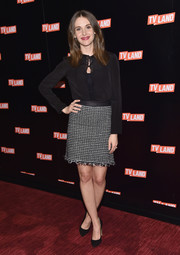 Alison Brie sported a dainty black button-down blouse by Tory Burch at the Viacom Kids and Family Group Upfront.
