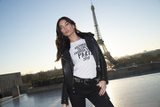 Lily Aldridge looked oh-so-cool wearing this black leather jacket with quilted sleeves during the Victoria's Secret photo op at the Eiffel Tower.