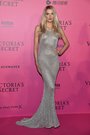 Lily Donaldson looked ravishing in a slinky chainmail fishtail gown at the Victoria's Secret fashion show after-party.