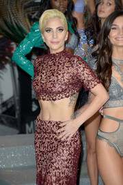 Lady Gaga paired dark mani with a sexy Alaia two-piece for her Victoria's Secret fashion show performance.