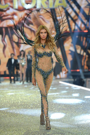 Stella Maxwell looked super seductive in a sheer catsuit with strategically placed beading during the Victoria's Secret fashion show.