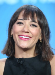 Rashida Jones sported wispy bangs with her short, messy haircut at the Winter TCA Tour.