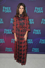 Maia Mitchell was boho-chic in a printed maxi dress at the Winter TCA Tour.