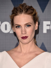 January Jones rocked a messy braided updo at the 2016 Winter TCA Tour Fox All-Star Party.