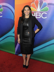 America Ferrera topped off her LBD with a black shawl-collar blazer.
