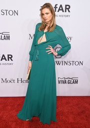 Andreja Pejic was boho-sexy in a green keyhole neckline gown during the amfAR New York Gala.