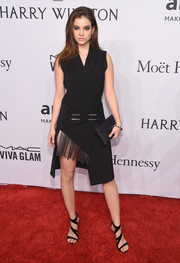 Barbara Palvin kept the edgy-chic vibe going with a pair of strappy black heels.