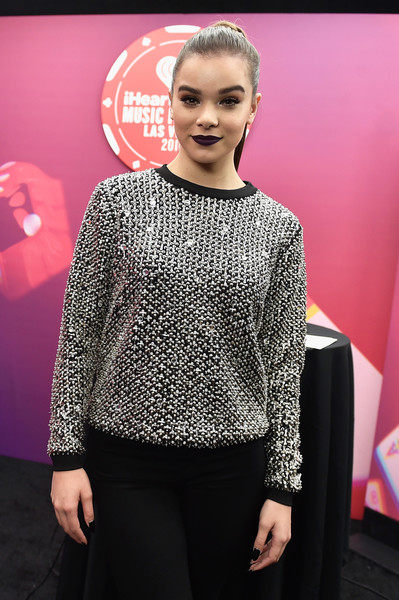 More Pics of Hailee Steinfeld Embellished Top (8 of 14) - Tops Lookbook - StyleBistro [clothing,fashion,pink,beauty,yellow,hairstyle,magenta,event,premiere,neck,hailee steinfeld,backstage,las vegas,nevada,t-mobile arena,iheartradio music festival]