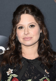 Katie Lowes sported a half-up curly hairstyle at the 2017 ABC Upfront.