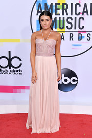 Lea Michele went for a sultry vibe in a blush halterneck corset gown by J. Mendel at the 2017 American Music Awards.