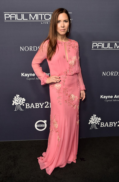 Monique Lhuillier attended the 2017 Baby2Baby Gala wearing a beaded pink gown with a keyhole neckline.