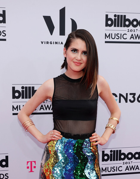 More Pics of Laura Marano Full Skirt (1 of 2) - Dresses & Skirts Lookbook - StyleBistro [clothing,dress,premiere,carpet,crop top,red carpet,event,little black dress,flooring,style,virginia black,laura marano,billboard music awards,nevada,las vegas,t-mobile arena,virginia black - red carpet]