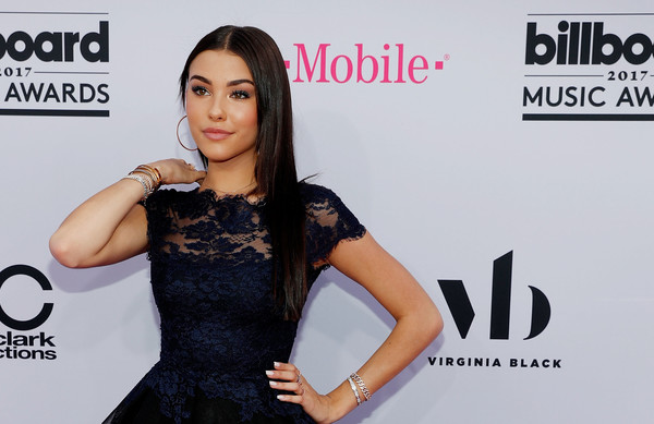 Madison Beer wore some diamond bracelets for a bit of sparkle to her navy dress at the 2017 Billboard Music Awards.
