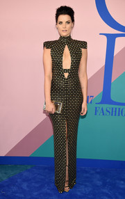 Jaimie Alexander made eyes pop with this figure-hugging, studded cutout gown by Marc Bouwer at the 2017 CFDA Fashion Awards.