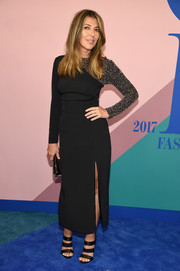 Nina Garcia chose an ankle-length dress with a beaded sleeve for her 2017 CFDA Fashion Awards look.