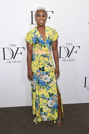 Cynthia Erivo paired her vibrant dress with silver gladiator heels.