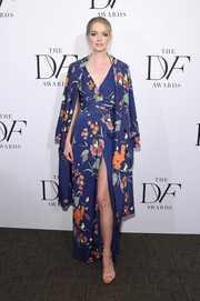 Lindsay Ellingson was a charmer in a floral wrap dress by Diane von Furstenberg at the 2017 DVF Awards.