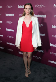 Danielle Panabaker looked alluring in a plunging red dress by Clarité at the Entertainment Weekly pre-Emmy party.