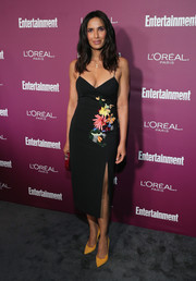 Padma Lakshmi slipped into a low-cut floral-embroidered midi dress by Cushnie et Ochs for the Entertainment Weekly pre-Emmy party.
