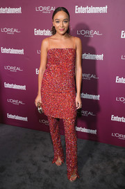 Ashley Madekwe paired her dress with matching pants for a more interesting finish.
