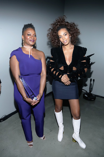 Solange Knowles teamed her jacket with a fitted mini skirt.