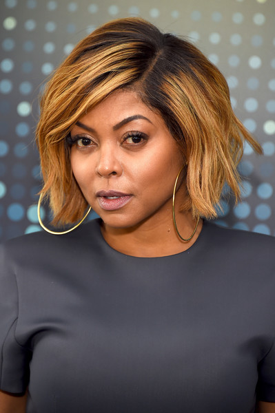 Taraji P. Henson looked cool wearing this slightly wavy bob with dark roots to the 2017 Fox Upfront.