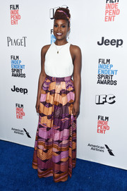Issa Rae paired her top with a vibrant-print maxi skirt by Omi Woods.