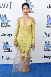 Freida Pinto bared some skin in an Uel Camilo illusion gown with yellow lace accents during the 2017 Film Independent Spirit Awards.
