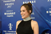 Carly Chaikin styled her hair into a loose bun for the 2017 Fragrance Foundation Awards.