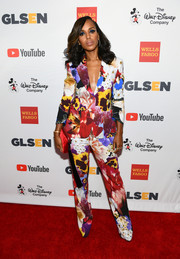 Kerry Washington was in full bloom in this Roberto Cavalli floral suit at the 2017 GLSEN Respect Awards.