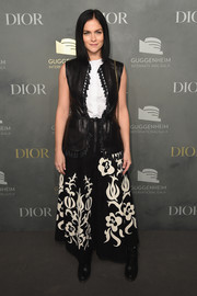 Leigh Lezark teamed her top with a patterned maxi skirt, also by Dior.