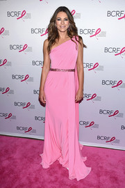 Elizabeth Hurley looked picture-perfect in this one-shoulder gown by Jovani at the 2017 Hot Pink Party.