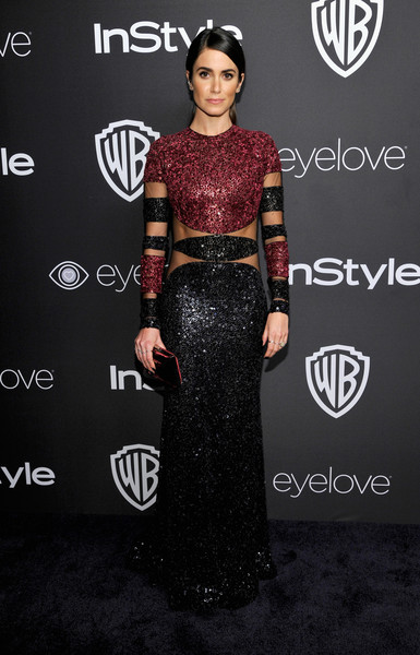 Nikki Reed looked downright fab at the InStyle and Warner Bros. Golden Globes post-party in a Naeem Khan color-block sequin gown featuring cutouts that showed off her crazy-toned abs!