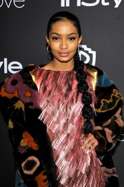 Yara Shahidi went playful with this segmented braid at the InStyle and Warner Bros. Golden Globes post-party.