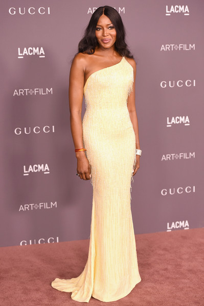 Naomi Campbell in a canary-hued gown