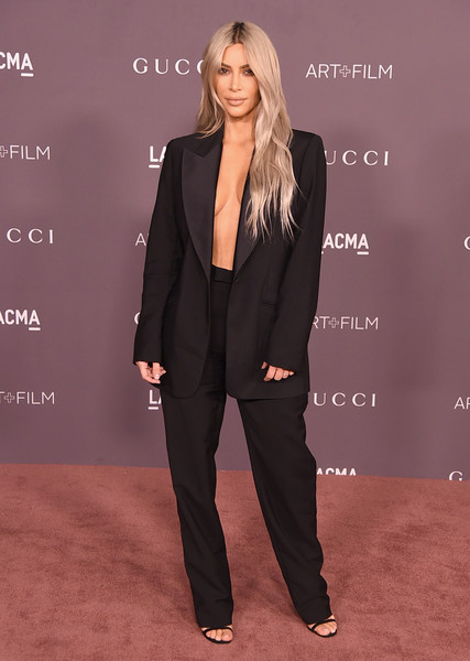 Kim Kardashian in an alluring menswear-inspired suit