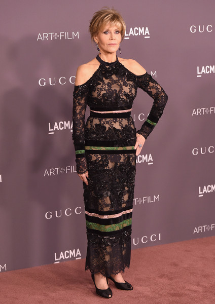 Jane Fonda in a sultry lace gown