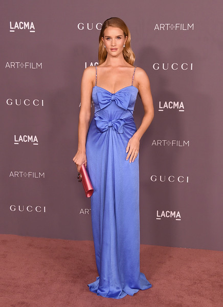 Rosie Huntington-Whiteley in a bow-adorned gown