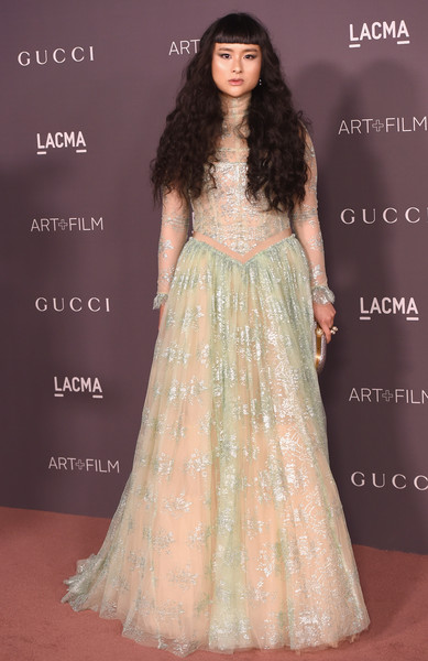 Asia Chow in a dreamy pastel gown