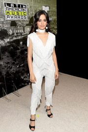 Camila Cabello got frilled up in a fringed white jumpsuit for the 2017 Latin American Music Awards.