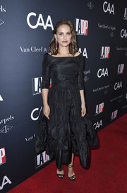 Natalie Portman looked supremely elegant in a black boatneck silk dress by Dior at the 2017 Los Angeles Dance Project Gala.