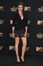 Gal Gadot complemented her LBD with a pair of studded pumps by Roger Vivier.
